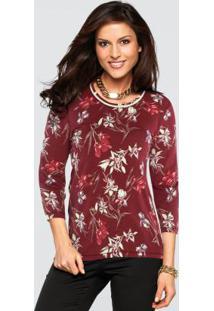 Blusa Floral Bordô