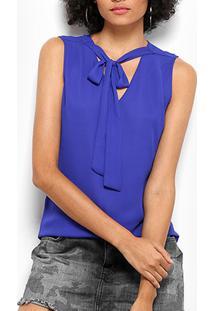 Blusa Drezzup Amarração Feminina - Feminino-Azul Royal