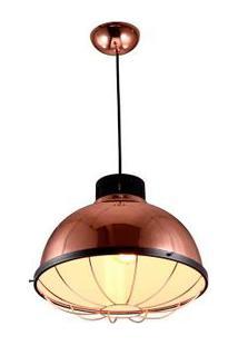 Pendente De Ferro Para 1 Lâmpada E27 35X35Cm D32H138 Rosa Ouro Ol