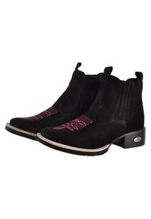 Bota Pessoni Boots & Shoes Botina Texana Pessoni Boots Couro Cano Curto Preto