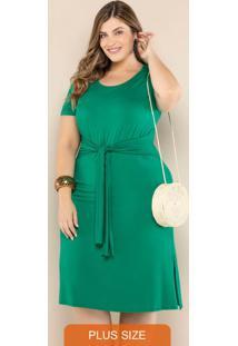 Vestido Plus Size Com Amarração Verde