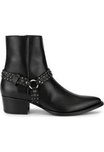Amiri Ankle Boot Com Aplicação De Tachas - Preto