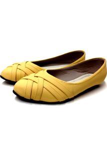 Sapatilha Comfort Bico Fino Buffone Comfort Trançada Amarela