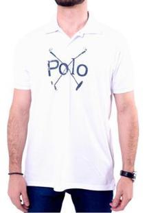Camisa Polo England Polo Club Estampada Masculina - Masculino-Branco