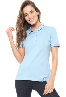 Camisa Polo Tommy Jeans Reta Listras Azul