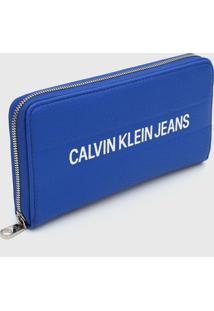 Carteira Calvin Klein Logo Relevo Azul