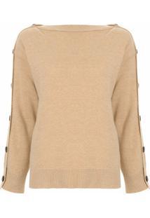 System Suéter Com Botões - Marrom