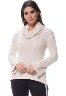 Blusa Gola Boba Caprise Tricot Feminina - Feminino-Off White