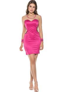 Vestido Celestine Curto Pink Em Cetim