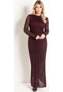 Vestido Longo De Tricô Vinho Moda Evangélica