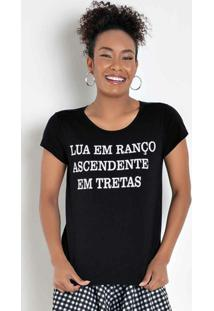 Blusa T-Shirt Preta Com Estampa Localizada