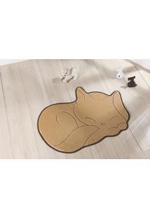 Tapete Formato Com Antiderrapante Gato Soneca 88X 62 Cm Bege
