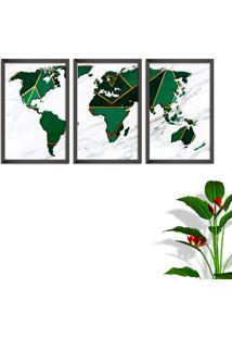 Quadro Oppen House 60X120Cm Mapa Mundi Geométrico Moldura Sem Vidro Fundo Branco Altas Países Decorativo Interiores
