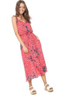 Vestido Clube Bossa Midi Floral Vermelho