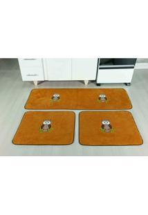 Tapete Antiderrapante Kit Cozinha Coruja Caramelo Guga Tapetes