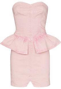 Isabel Marant Vestido Dolizi Com Peplum Na Cintura - Rosa