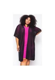 Kimono Almaria Plus Size Alt Tule Preto
