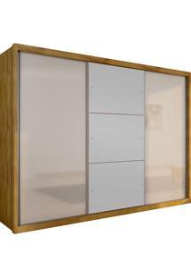 Guarda-Roupa Casal 3 Portas Com Espelho Paradizzo Gold- Novo Horizonte - Freijo Dourado / Off White
