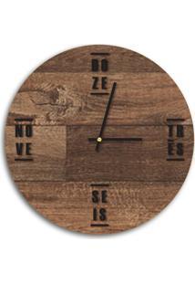 Relógio De Parede Decorativo Premium Madeira Ripada Com Palavras Em Relevo Preto Ônix Médio