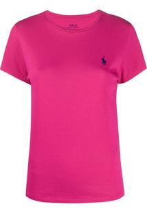 Polo Ralph Lauren Camiseta Decote Careca Com Logo - Rosa