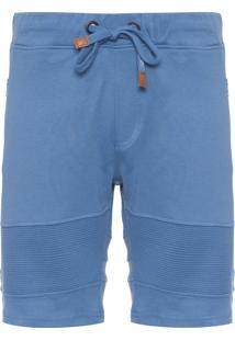 Bermuda Masculina Moletom Recorte - Azul