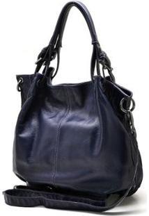 Bolsa Couro Hendy Bag Com Repartição Estilo Sacola Feminina - Feminino-Azul Escuro