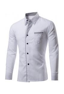Camisa Masculina Slim Fit Com Detalhes Listrados Manga Longa - Branco