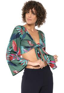 Blusa Cropped Mercatto Tropical Verde