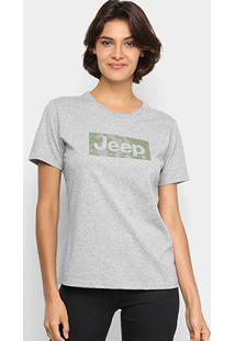 Camiseta Jeep Camuflada Mask Feminina - Feminino-Cinza