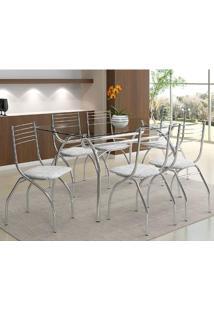Mesa 379 Com Vidro Incolor Cromada Com 6 Cadeiras 146 Fantasia Branco Carraro