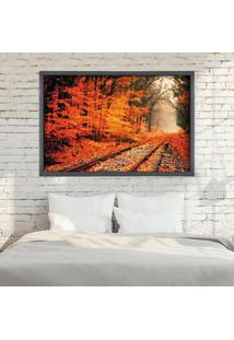 Quadro Love Decor Com Moldura Ferrovia Grafitti Metalizado - Grande