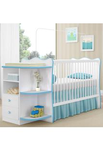 Berço Com Cômoda Doce Sonho P/ Jogo De Quarto Infantil Bebê - Branco/Azul