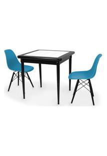 Conjunto Mesa De Jantar Em Madeira Preto Prime Com Azulejo + 2 Cadeiras Eames Eiffel - Turquesa