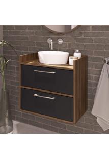 Gabinete Para Banheiro 2 Portas Beni Estilare Móveis Preto/Madeirado