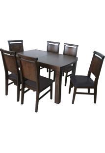 Mesa Extensível Max Com 6 Cadeiras Max Sued Café