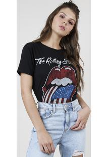 Blusa Feminina De Banda The Rolling Stones Manga Curta Decote Redondo Preta