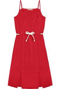 Vestido Tecido Rayon Twill Vermelho