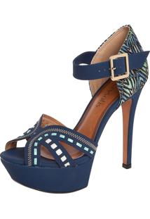 Sandália Crysalis Pespontos Azul