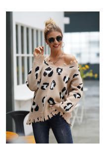 Casaco Feminino Dairomont Leopardo Com Franjas - Khaki