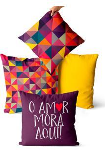 Kit 4 Capas De Almofadas Geométrica Roxo E Amarelo 45X45
