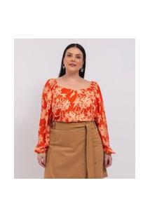 Camisa Floral Com Manga Bufante E Decote Princesa Curve & Plus Size | Ashua Curve E Plus Size | Laranja | Eg