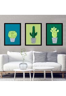 Kit 3 Quadros Com Moldura Cactus