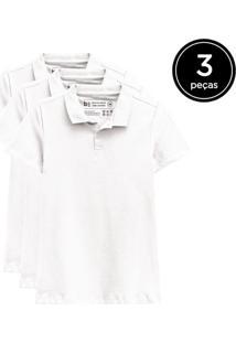 Kit Basicamente. 3 Camisas Polo Branco - Kanui