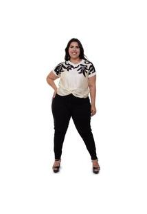 Blusa Detalhe Torcido Almaria Plus Size Mais Na Moda Multicolorido