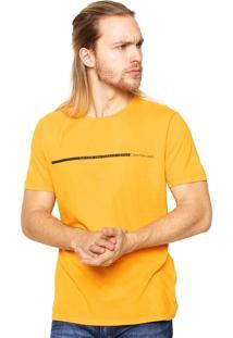 Camiseta Calvin Klein Jeans Reta Amarela