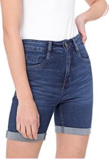Bermuda Jeans Malwee Ajustada Estonada Azul