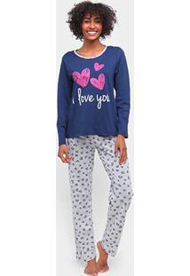 Pijama Longo Three Hands Estampado Feminino - Feminino-Marinho