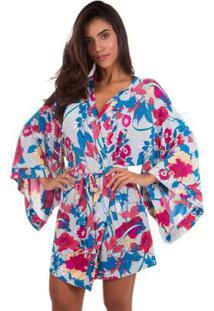 Robe Curto Inspirate - Feminino-Branco+Rosa