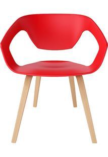 Cadeira P&W Plástico Pp E Base Em Madeira De Faia Vermelha - Orb