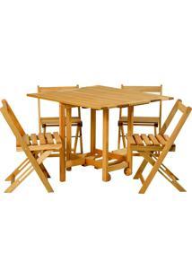 Conjunto De Mesa Com 4 Cadeiras -Mão E Formão - Jatobá